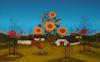 Manfred HORN - Painting - Herbstdorf mit Sonnenblumen