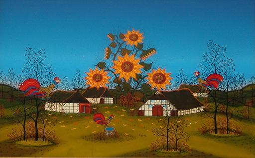 Manfred HORN - Pittura - Herbstdorf mit Sonnenblumen