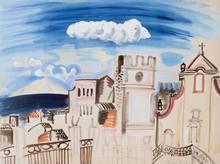Raoul DUFY - Dessin-Aquarelle - L'Église de Taormina