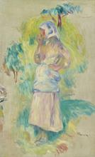 Pierre-Auguste RENOIR - Painting - Jeune fille mangeant une pomme, Gabrielle Dufour - fragment