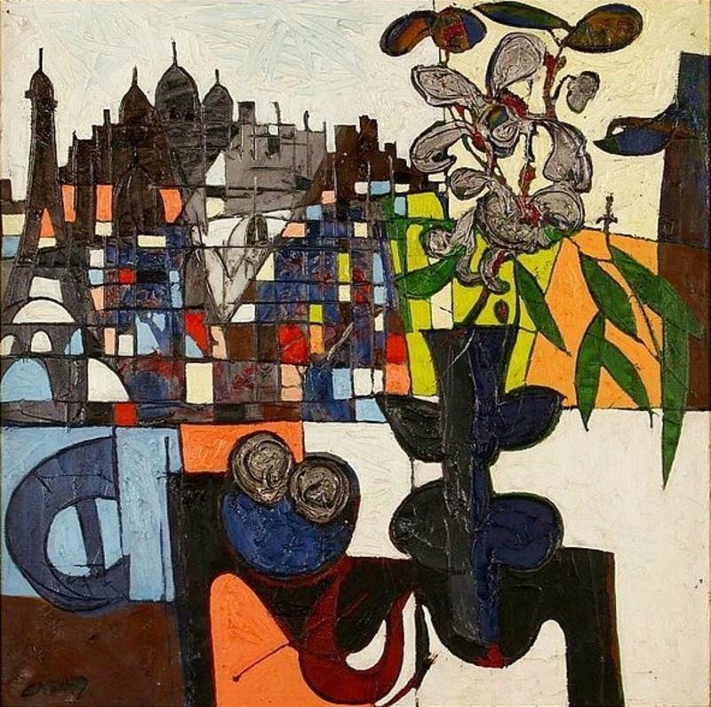 Claude VENARD - Painting - La Fleur Allumée