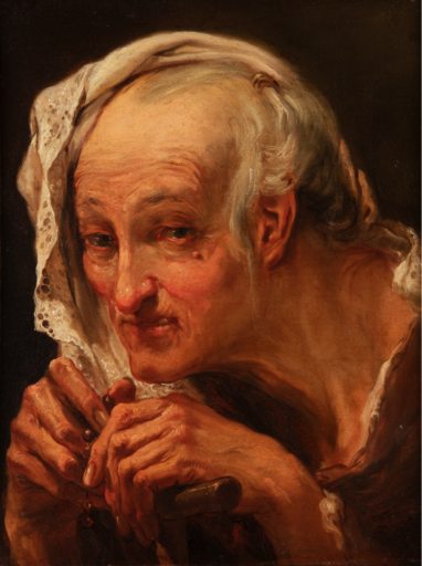 Gaetano GANDOLFI - Pittura - Head of an old woman praying