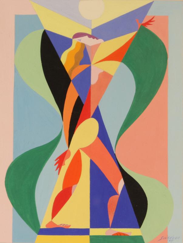 Léopold SURVAGE - Dessin-Aquarelle - Standing Nude