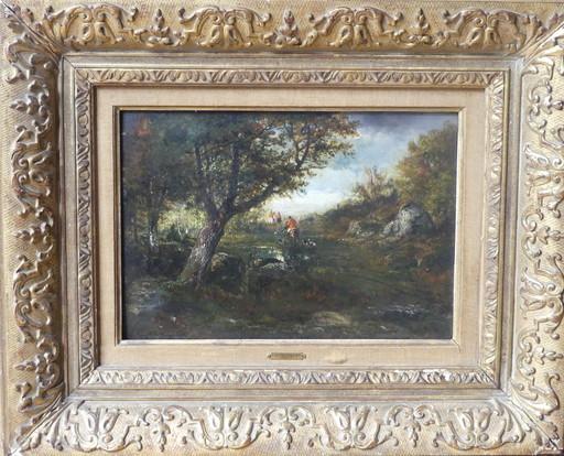 François Auguste ORTMANS - Painting - Chasse à courre en forêt