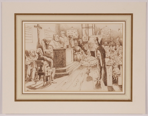 "Victor ODESCALCHI - Disegno Acquarello - ""End-of-Year Examination"" , middle 19th Century"