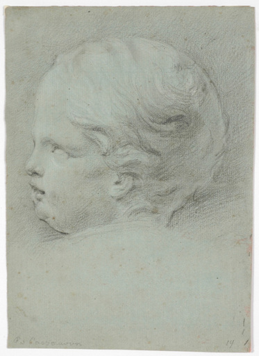 "Francesco CASANOVA - 水彩作品 - Francesco Casanova (1727-1802) ""Child's head study"" drawing"