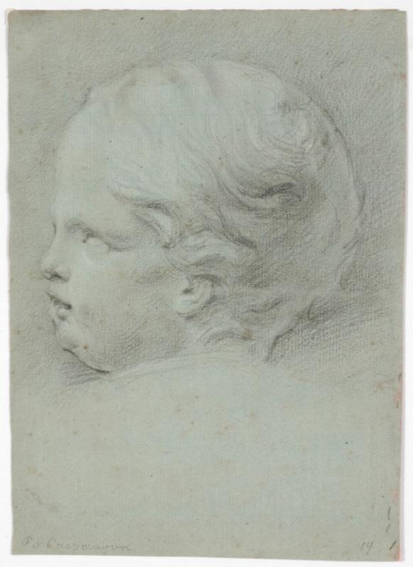 "Francesco CASANOVA - 水彩作品 - Francesco Casanova (1727-1802) ""Child's head study"" drawing"
