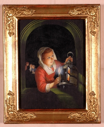 """Marie TROLL - Miniature - """"Copy after Gerard Dou"""", Gouache on Ivory"""