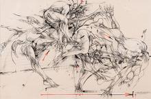"Vladimir VELICKOVIC - Dibujo Acuarela - ""Quatre états du saut"""