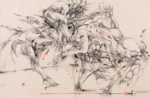 "Vladimir VELICKOVIC - Disegno Acquarello - ""Quatre états du saut"""