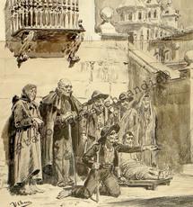 Ulpiano CHECA Y SANZ - Drawing-Watercolor - La cour des miracles-Corte de los milagros