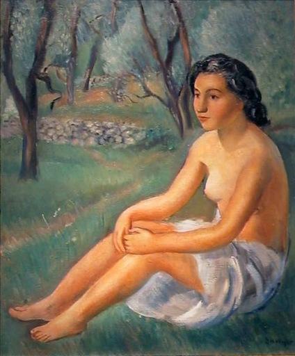 Joaquín SUNYER - Pintura - DESNUDO DE MUJER