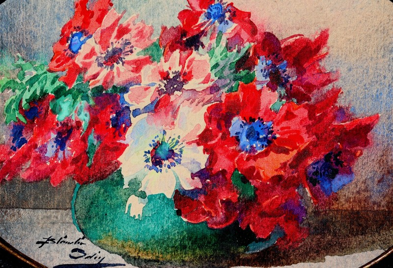 """Blanche ODIN - Drawing-Watercolor - """"BOUQUET D'ANEMONES VARIEES"""""""