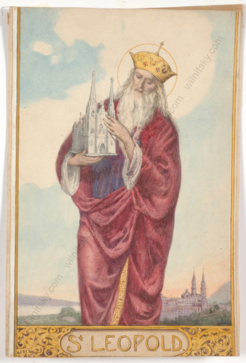 "Josef KÖPF - Drawing-Watercolor - ""Saint Leopold as Founder of Klosterneuburg by Vienna"""