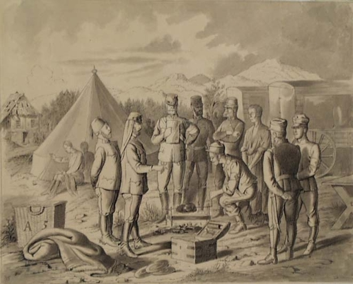 "Victor ODESCALCHI - Dibujo Acuarela - ""In Military Camp"", Mid 19th century"
