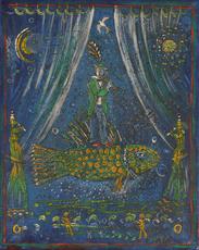 Vasily KAFANOV - Painting - Man on a fish playing Flute