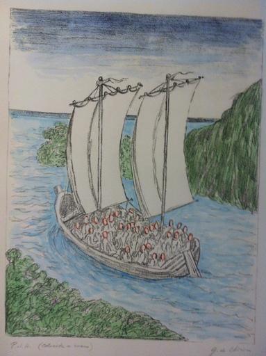 Giorgio DE CHIRICO - Stampa-Multiplo - la barca misteriosa