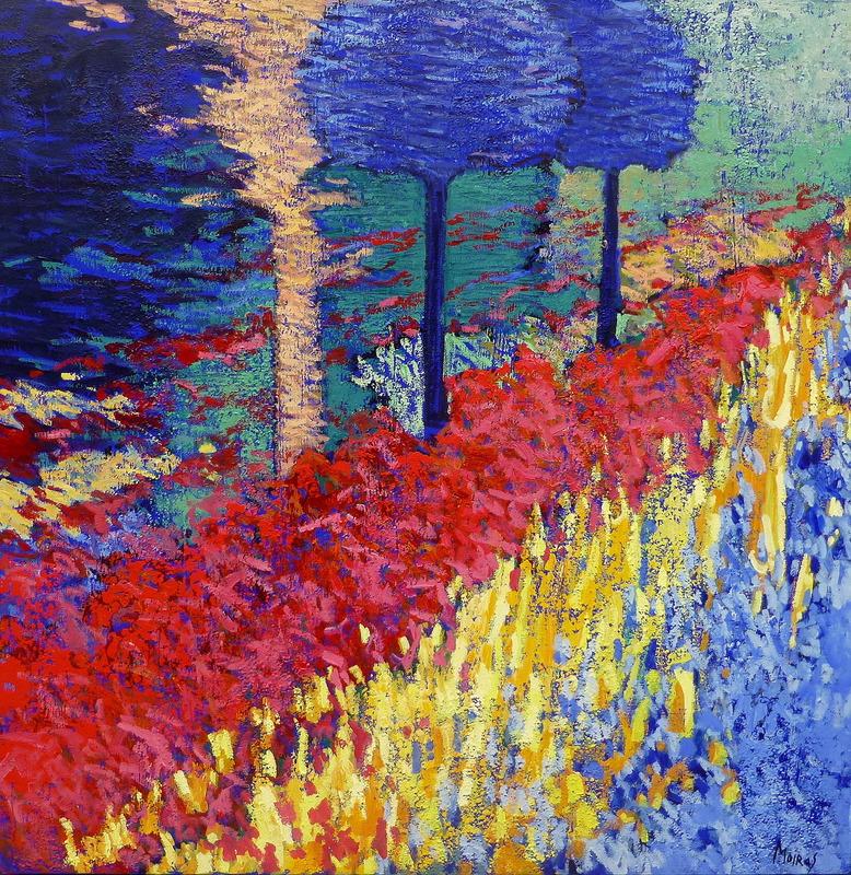 Jean MOIRAS - Painting - Le jardin de Polymnie