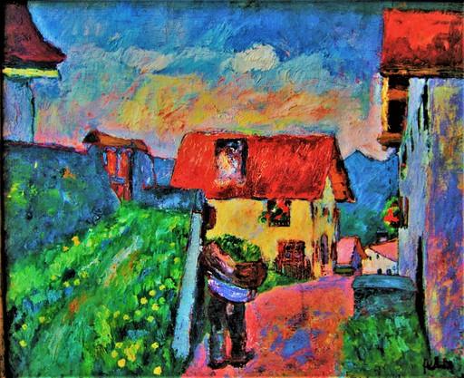 Henri FEHR - Pintura - Pays d'Enhaut. Village Suisse. Canton de Vaud