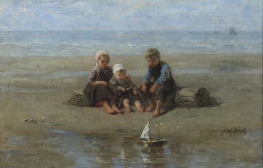 Jozef ISRAELS - Gemälde - Three Children by the Beach