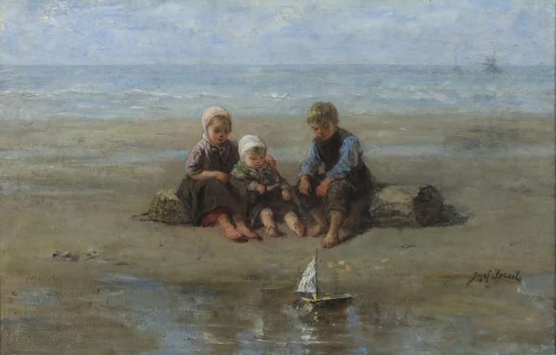 Jozef ISRAELS - Painting - Three Children by the Beach