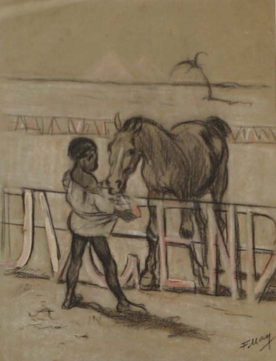 "Ferdinand MAY - Dibujo Acuarela - ""Friends"" by Ferdinand May, 1900's"