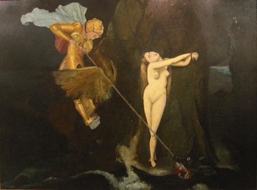 Jean SOUVERBIE - Painting - Ruggero libera Angelica