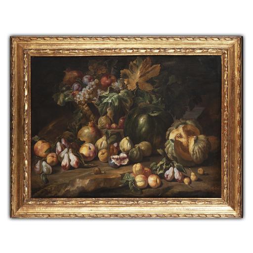 Abraham BRUEGHEL - Pintura - Natura morta con fiori e frutta