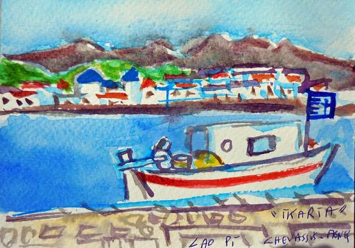 Jean-Pierre CHEVASSUS-AGNES - Dessin-Aquarelle - IKARIA ( GRECE ) petit port de marins pêcheurs