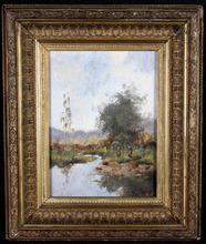 Eugène GALIEN-LALOUE - Painting - Paysage de campagne animé