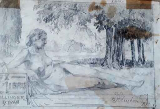 Jeno KÉMÉNDY - Drawing-Watercolor - Ex Libris- Hillnger Istavan