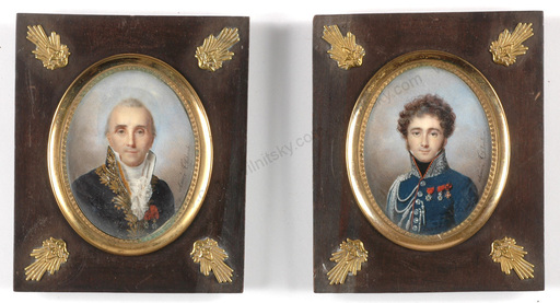 "Aimée THIBAULT - Miniature - ""Portraits of father and son"", two important miniatures!!"