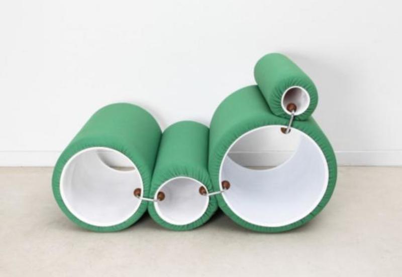 Joe COLOMBO - Fauteuil Lounge Vintage Green Tube par Joe Colombo