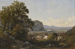 Léon FLEURY - Painting - L'Isère au Bec de l'Echaillon, vue de Voreppe