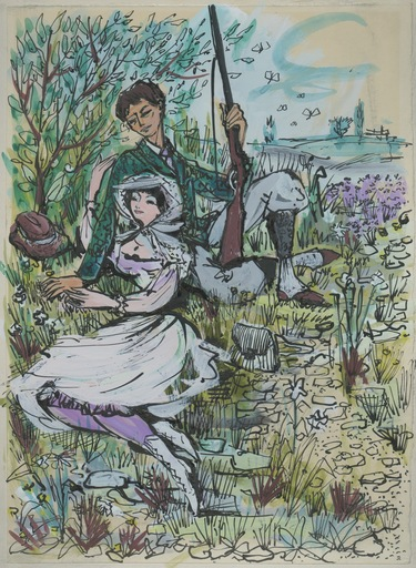 Rémy HÉTREAU - 水彩作品 - DESSIN ENCRE GOUACHE SIGNÉ MAIN R.H. HANDSIGNED INK DRAWING