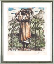 Lovis CORINTH - Grabado - Mädchen im Weinberg