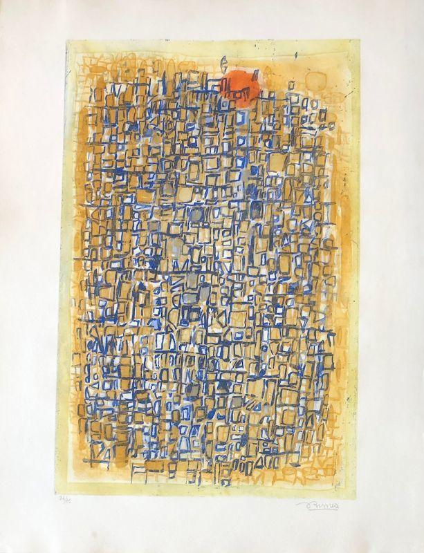 Roger BISSIÈRE - Estampe-Multiple - Composition sur fond jaune