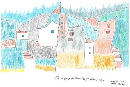 "Reine BUD-PRINTEMS - Zeichnung Aquarell - "" Le Voyage de Camille, Macha, Tifou"""