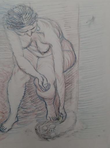 "Manuel ÁNGELES ORTIZ - Dibujo Acuarela - "" Desnudo"""