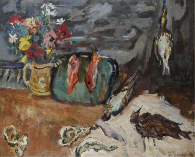 Vladimir NAIDITCH - Peinture - Nature morte au gibier et au poisson