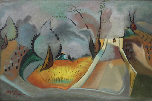 Nahum GUTMAN - Painting - Figure in the Landscape