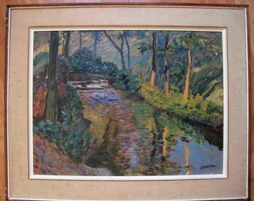 Antonín HUDEČEK - Painting -  Flußlandschaft im Wald