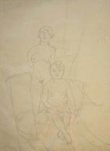 Jules PASCIN - Drawing-Watercolor - Deux Modeles