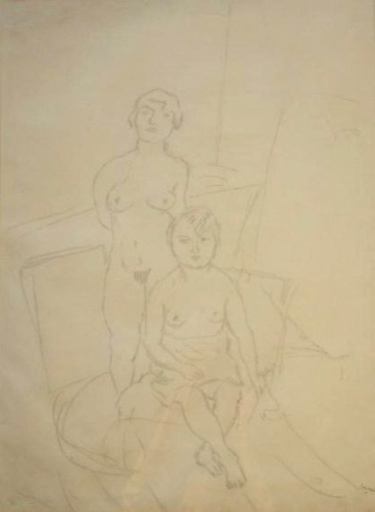 Jules PASCIN - Drawing-Watercolor - Deux Modeles
