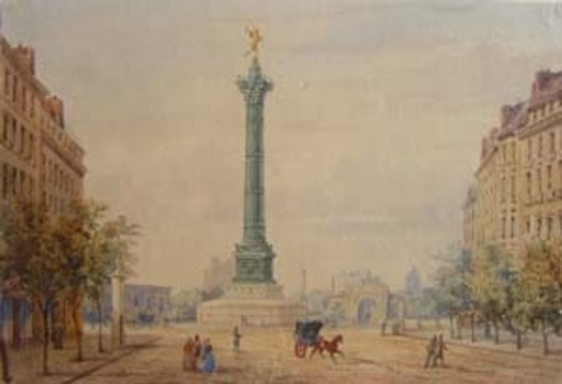 Gaspard GOBAUT - Drawing-Watercolor - Place de la Bastille Paris