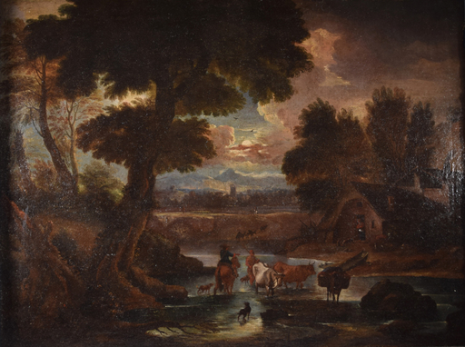 Francesco ZUCCARELLI - Peinture - Untitled (Landscape with People and Cattle)
