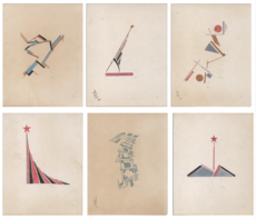 El LISSITZKY - Drawing-Watercolor - Lot of 6 suprematic drawings ; 1920-30s ;