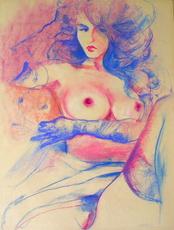 Helmut PREISS - Drawing-Watercolor - Erotische Schönheit