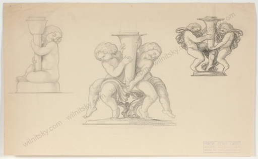 """Ferdinand OPITZ - Dibujo Acuarela - """"Projects for Art Deco Candlesticks"""", 1920s"""