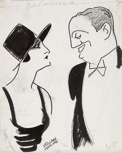 Mario VELLANI MARCHI - Drawing-Watercolor - The actors Vera Vergani and Ruggero Lupi